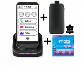 Amplicomms M50s Senioren smartphone | Simlock vrij | GRATIS L-mobi Jaarbundel | GRATIS Lederen Tasje