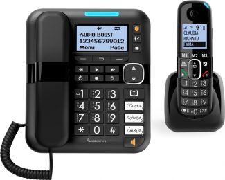 Amplicomms BigTel1580 Combo Huistelefoon en Dect telefoon | Senioren telefoon vaste lijn | Voor Slechthorenden en Slechtzienden | 3 Directe Geheugentoetsen | Antwoordapparaat | Lichtsignaal bij oproep | Luid volume | Gehoorapparaat compatibel