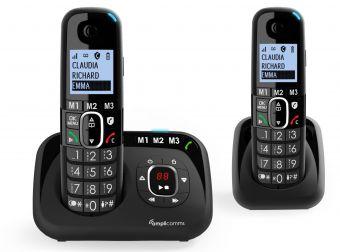 Amplicomms BigTel1582 Senioren draadloze duo huistelefoon voor de vaste lijn | Extra handset | Antwoordapparaat | Luide oproeptonen | Ongewenste bellers blokkeren | 3 directe geheugen toetsen | Handsfree | Grote toetsen | Gehoorapparaat compatibel